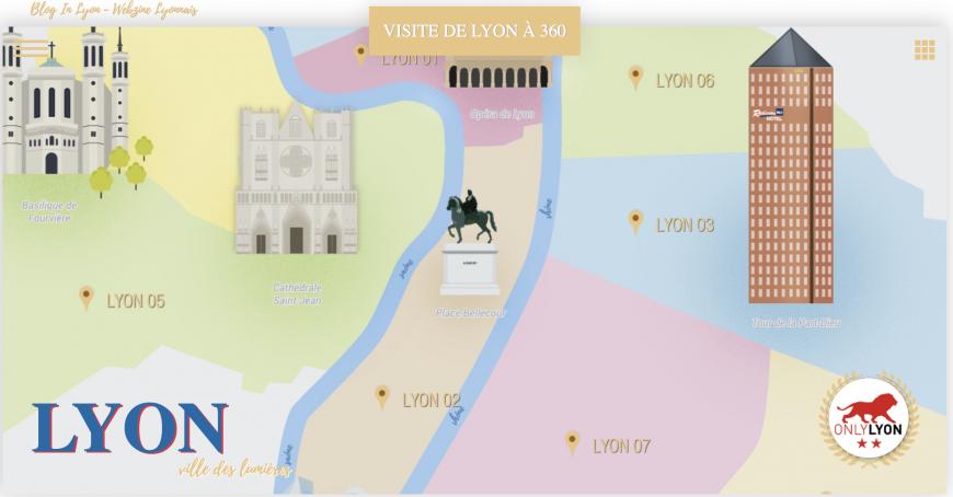 Cette carte virtuelle et ludique permet de découvrir les monuments de Lyon