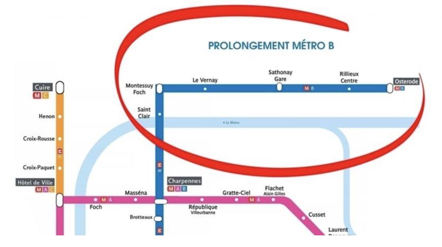 Cette pétition en ligne a pour objectif la prolongation de la ligne de Métro B jusqu'à Caluire, Rillieux et Sathonay