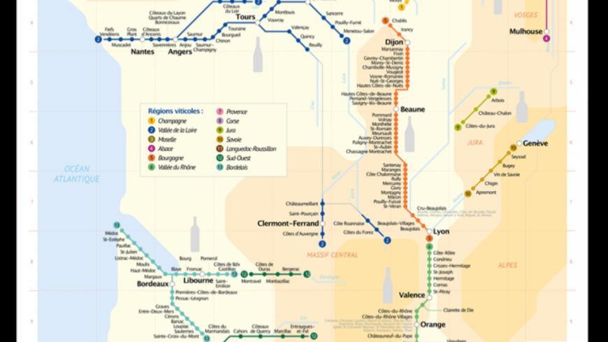 Voici le plan de métro des vignobles français !